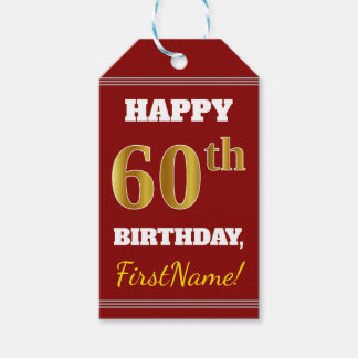 赤、模造のな金ゴールドの第60誕生日 + 名前をカスタムする ギフトタグ
