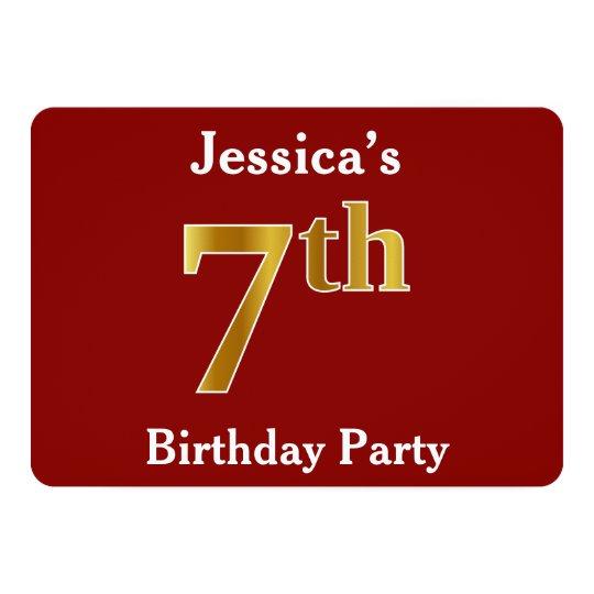 赤、模造のな金ゴールドの第7誕生会 + 名前をカスタムする 12.7 X 17.8 インビテーションカード