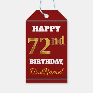 赤、模造のな金ゴールドの第72誕生日 + 名前をカスタムする ギフトタグ
