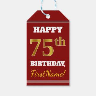 赤、模造のな金ゴールドの第75誕生日 + 名前をカスタムする ギフトタグ