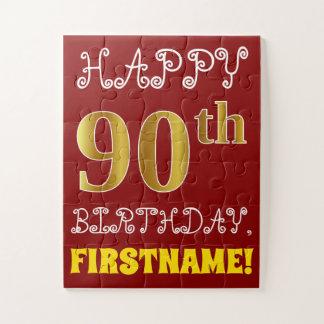 赤、模造のな金ゴールドの第90誕生日 + 名前をカスタムするのパズル ジグソーパズル