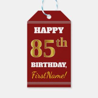 赤、模造のな金ゴールドの85th誕生日 + 名前をカスタムする ギフトタグ
