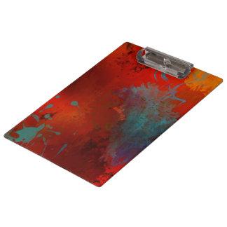 赤、水及び金ゴールドのグランジなデジタル抽象美術 クリップボード