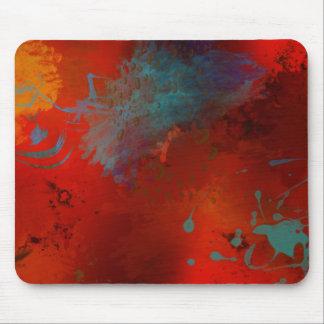 赤、水及び金ゴールドのグランジなデジタル抽象美術 マウスパッド