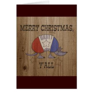 赤、白くそして青のアルマジロメリーなクリスマスY'al カード