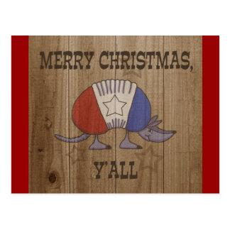 赤、白くそして青のアルマジロメリーなクリスマスY'al ポストカード