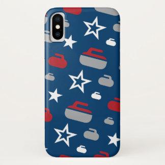 赤、白くそして青のカールの石の携帯電話の箱 iPhone X ケース