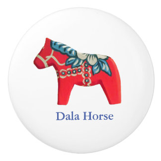 赤、白くそして青の陶磁器のDalaの馬のノブ セラミックノブ