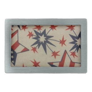 赤、白及び青のスターバスト 長方形ベルトバックル
