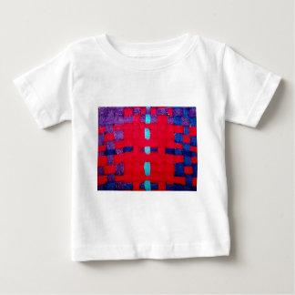 赤、紫色および青の織り方 ベビーTシャツ