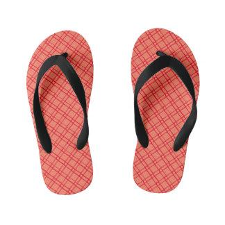 赤、細長いピンクの織り目加工の正方形円パターン キッズビーチサンダル