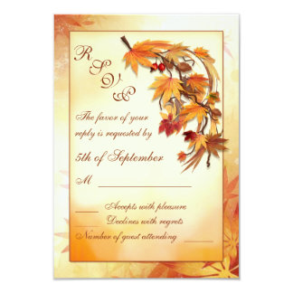 赤、金ゴールド、茶色の秋の葉RSVP カード