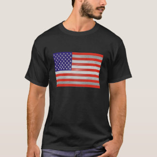 赤、銀、及び青い米国旗のTシャツ Tシャツ