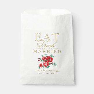 赤、飲み物食べ、結婚したが- DIYの文字あって下さい フェイバーバッグ