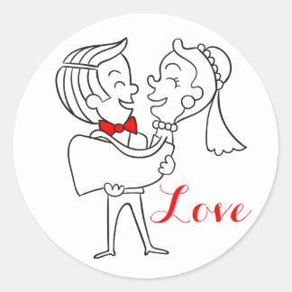 赤、黒及び白を結婚している愛新郎新婦 ラウンドシール