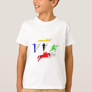 走られる五種競技のフェンシングの射撃、発砲の水泳の跳躍 Tシャツ