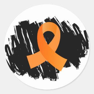 走り書きが付いている白血病のオレンジリボン ラウンドシール