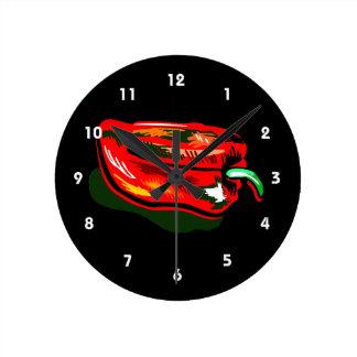 走り書きされた赤唐辛子 ラウンド壁時計