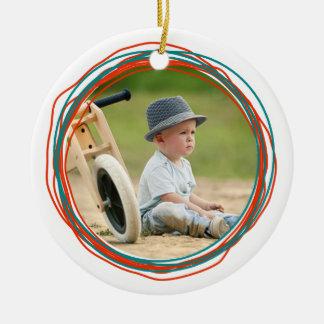 走り書きの円のカスタムな記念品の写真のクリスマス セラミックオーナメント