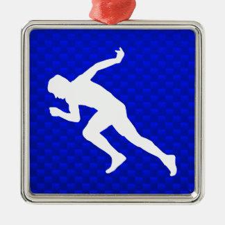 走ること; 青い メタルオーナメント