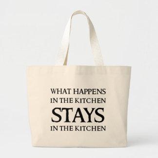 起こる何が台所で ラージトートバッグ