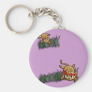 超かわいいヒョウのサファリの誕生日の招待状 キーホルダー