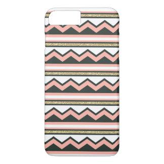 超シックな金ゴールドの珊瑚のシェブロンのiPhone 7のプラスの場合 + iPhone 8 Plus/7 Plusケース