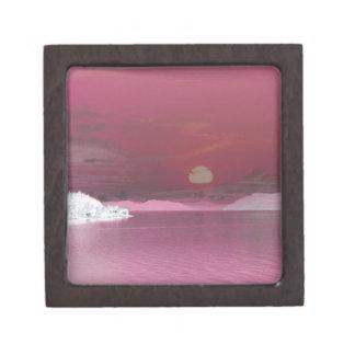 超現実的なピンクの幻想の世界の海の日没 ギフトボックス