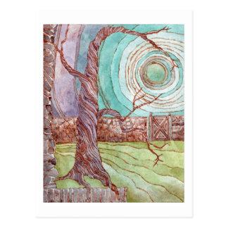 超現実的な景色の水彩画の絵画 ポストカード