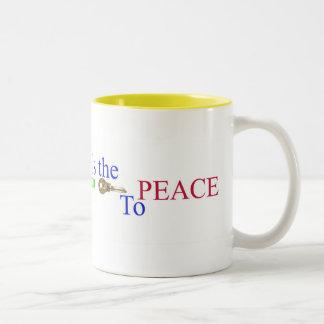 超越的な黙想は平和へ鍵です ツートーンマグカップ