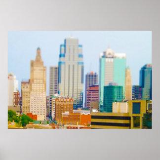 超高層ビルの高層ビルの都心のカンザスシティのスカイライン ポスター