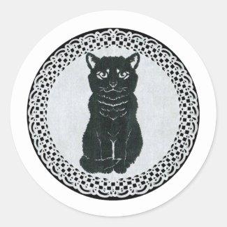 越後(日本国新潟県)の黒猫・切り絵 ラウンドシール