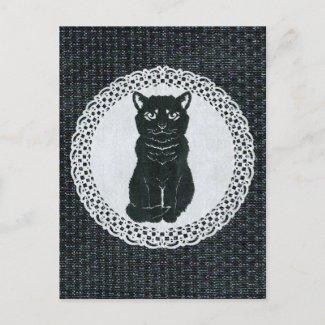 越後(日本国新潟県)の黒猫・切り絵 Postcard ポストカード