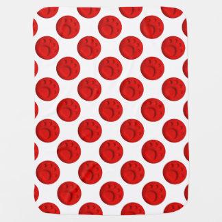 足のプリントの点-赤 ベビー ブランケット