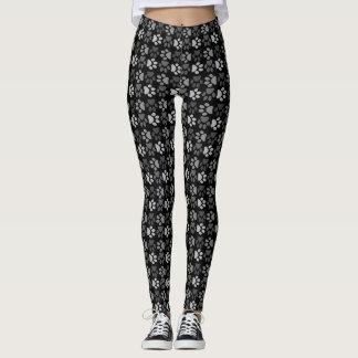 足のプリントパターン-白黒色 レギンス