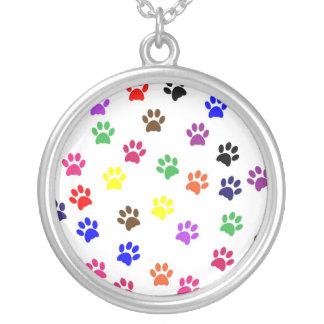 足のプリント犬ペットおもしろいの多彩なペンダント、ネックレス シルバープレートネックレス