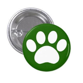 足のプリント: 緑ボタン 3.2CM 丸型バッジ