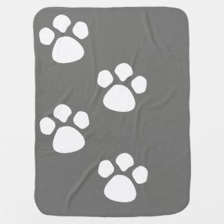 足はベビーブランケット-ティール(緑がかった色)灰色犬の子犬--を印刷します ベビー ブランケット