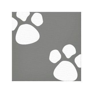足は壁のキャンバス-灰色犬の足のプリント--を印刷します キャンバスプリント