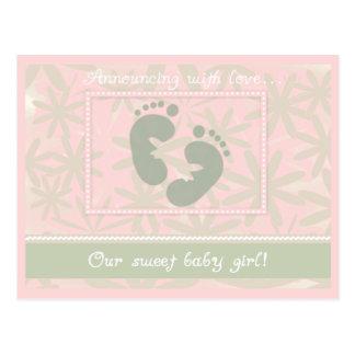 足跡の女の赤ちゃん ポストカード
