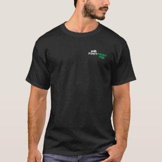 足跡の黒いティー Tシャツ