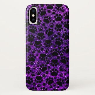 足、足プリント、グリッター-紫色の黒--の後をつけて下さい iPhone X ケース