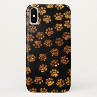 足、跡、足プリント、グリッター-金ゴールドの黒--の後をつけて下さい iPhone X ケース