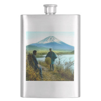 路傍のヴィンテージによって休んでいる富士山の巡礼者 フラスク