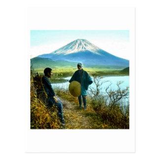 路傍のヴィンテージによって休んでいる富士山の巡礼者 ポストカード
