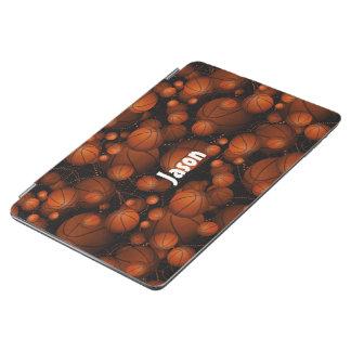 跳ねてバスケットボールはあなたの一流のオレンジ黒を加えます iPad AIR カバー