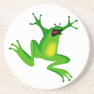跳んでいるカエルは-ネオン緑カエル コースター