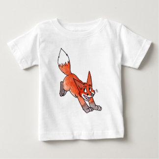 跳躍のキツネの乳児のTシャツ ベビーTシャツ