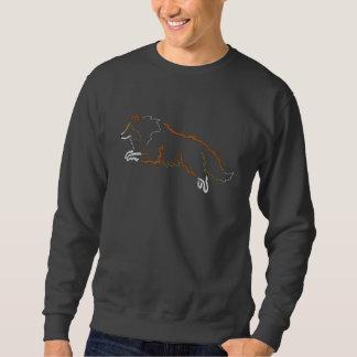 跳躍のクロテンのシェットランド・シープドッグによって刺繍されるスエットシャツ 刺繍入りスウェットシャツ