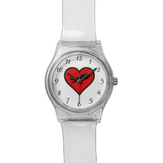 跳躍のジャーマン・シェパードのハート愛はシルエットの後をつけます 腕時計